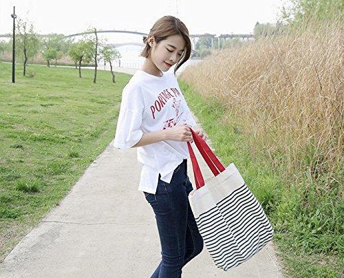 Tfxwerws studenti Girl Portable Bookbag borsa shopping a righe