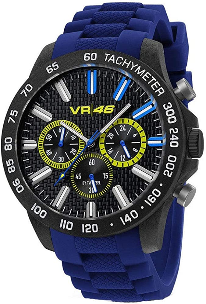 TW Steel VR46 Yamaha Valentino Rossi the Doctor Men s Ultra Light Carbon Motorcycle Racing Chronograph Watch VR110 Blue Silicone Strap Sport Wrist Watches