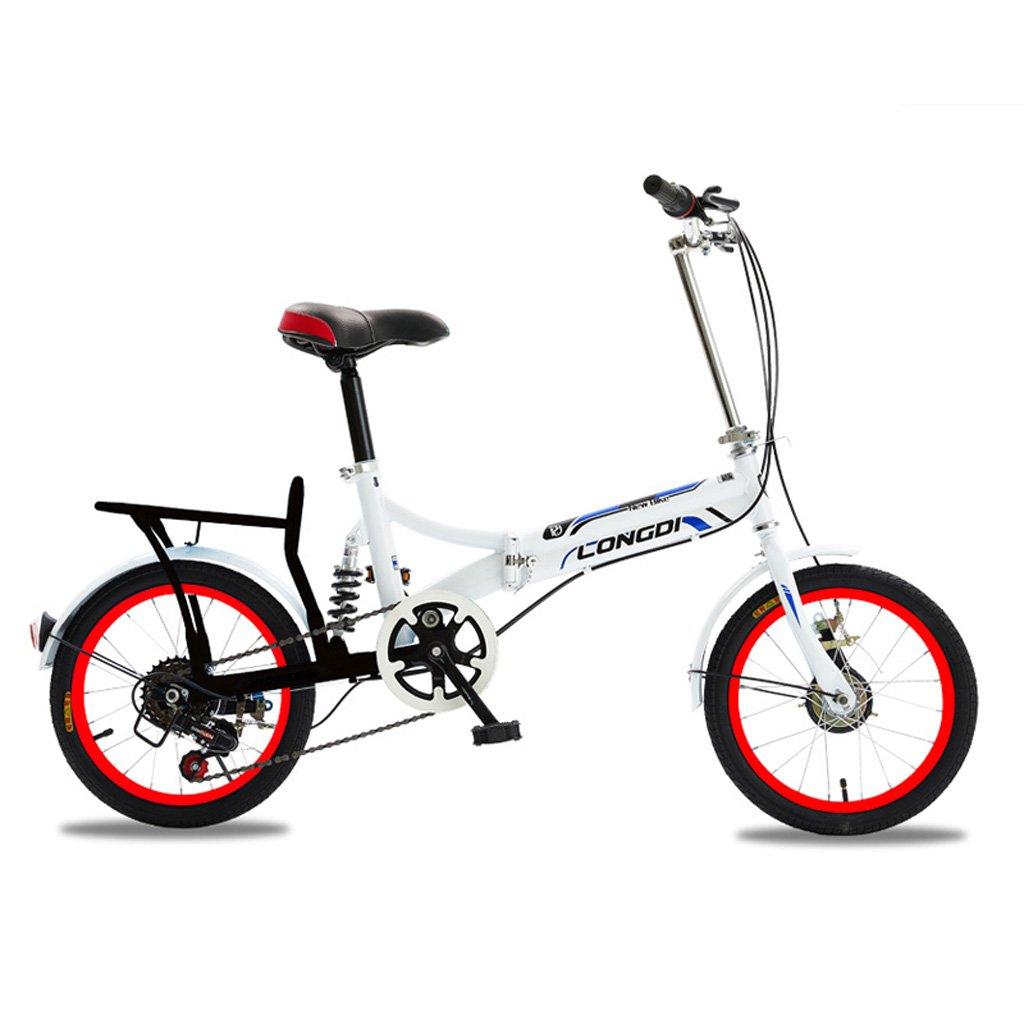 折りたたみ自転車大人男性と女性20インチポータブル自転車高炭素鋼自転車、白青/黒白/赤/白/白緑 (Color : Black White Red) B07CZB84JV