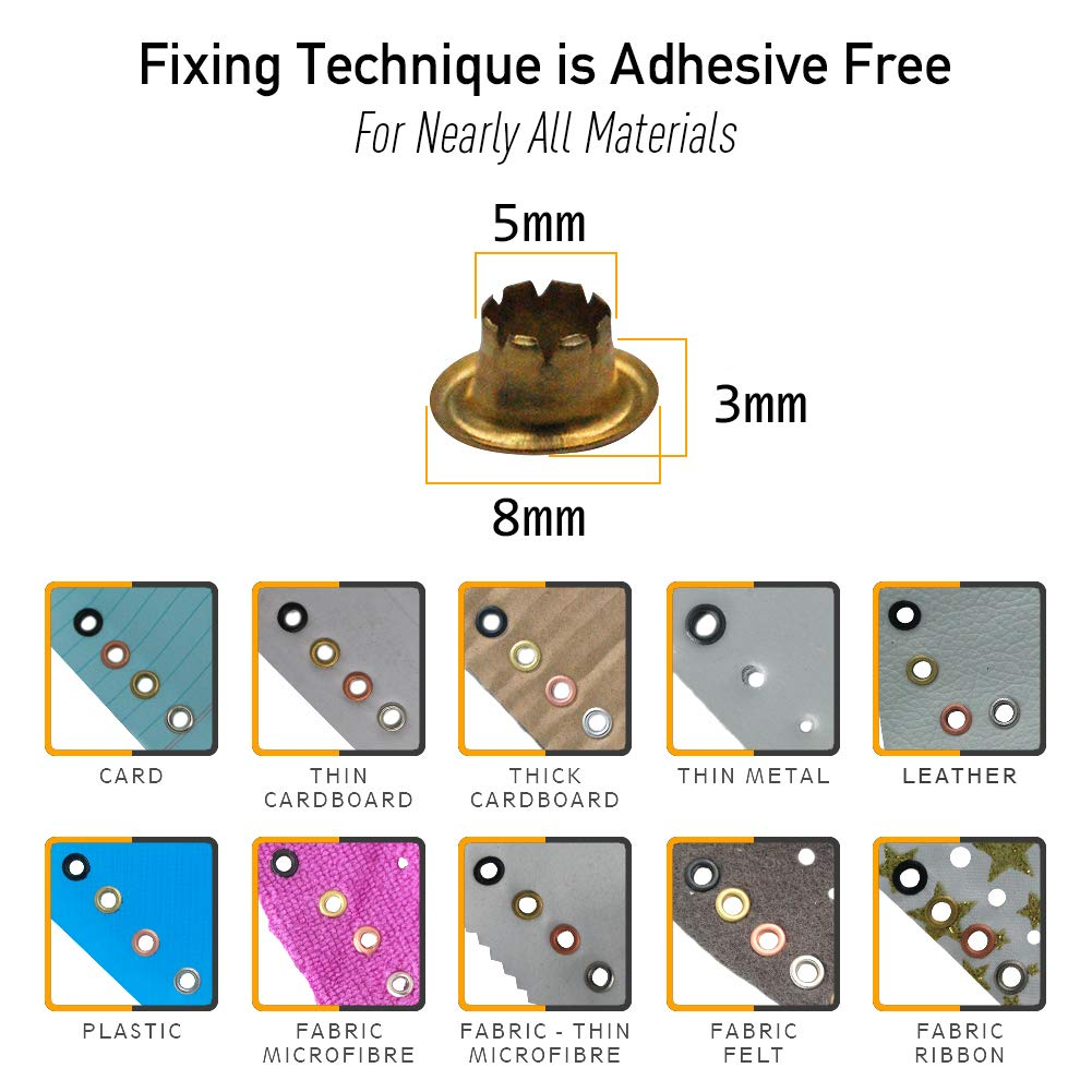 Woodruff Industries 1000 Pieces Eyelet Copper Grommet Kit Durable Iron Metal Nickel Plated 5 mm Hole Clothes and Leather Eyelet for Arts Crafts Scrapbook and Shoe Grommets