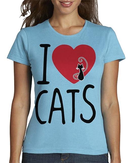 latostadora - Camiseta Amo Gatos para Mujer: infouk: Amazon.es: Ropa y accesorios