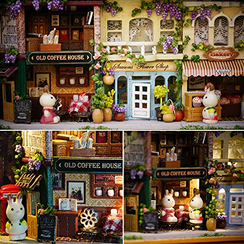 Spilay DIY Miniature Dollhouse Wooden Furniture Kit,Handmade Mini Iron Box Theater Model,1:24 Scale Creative Doll House Toys for Lovers (in A Happy Corner) Q05