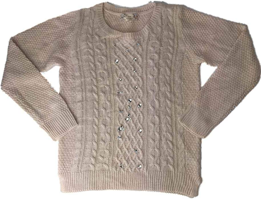 648ea8c4 Amazon.com: Girls Pink Knit Rhinestone Chunky Knitted Pullover Sparkly Pull  Over Sweater: Clothing