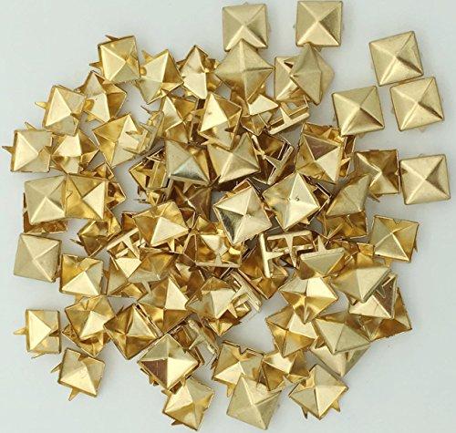 100pcs 10mm Square DIY Leathercraft Metal Punk Spikes Spots Pyramid Studs Nailheads (Gold)