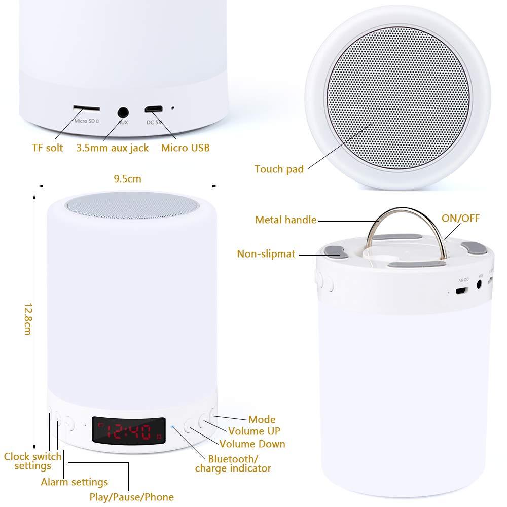 Lampe Haut-parleur Bluetooth,Lampe de Table de Chevet avec Capteur de Lumi/ère Tactile de nuit avec Radio-r/éveil Radio FM,Lumi/ère Tamis/ée et 7 Couleurs Changeantes Lanterne de Camping portative,Cadeaux