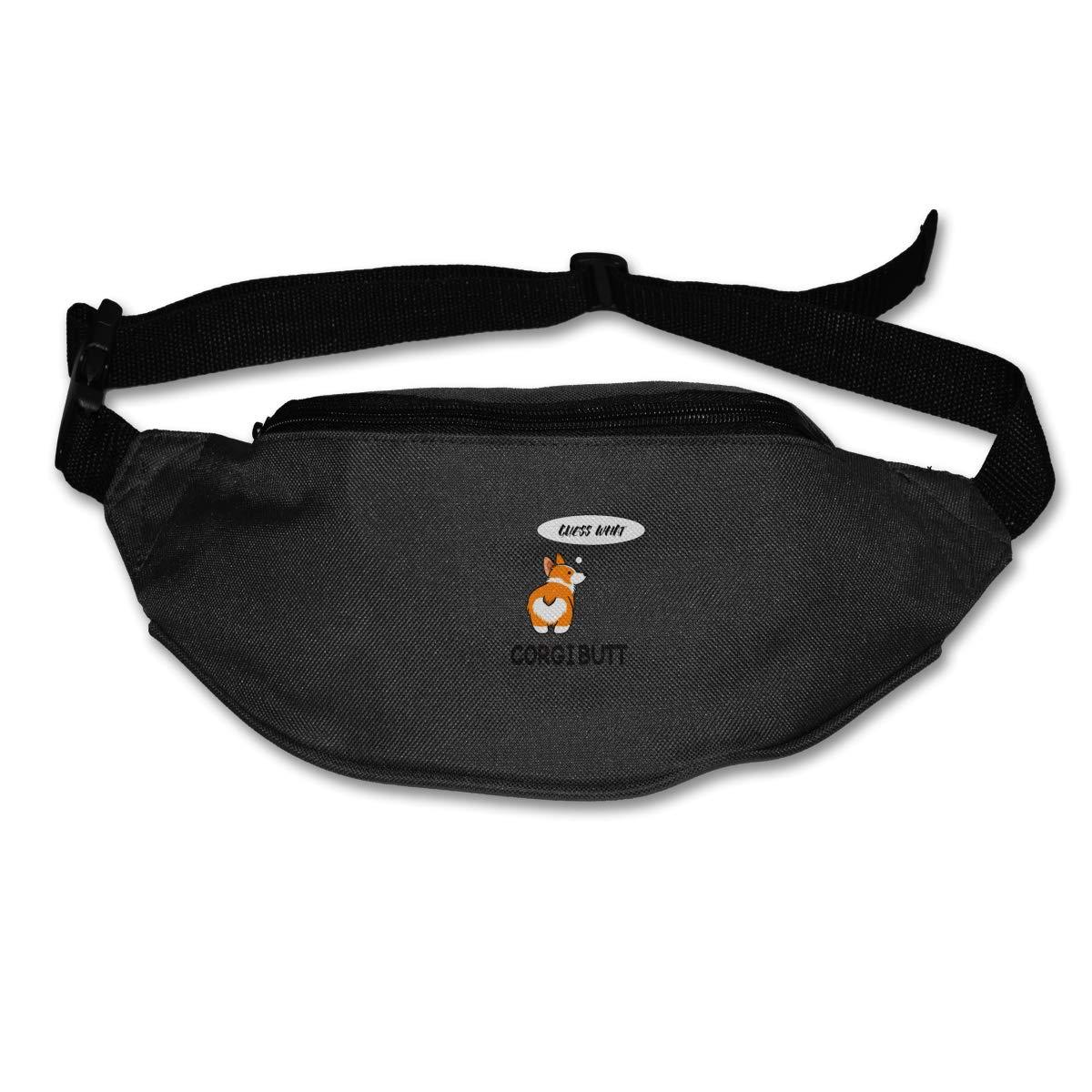 Guess What Corgi Butt Sport Waist Pack Fanny Pack Adjustable For Run
