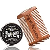 Urban Prince Beard Balm Conditioner Beard Butter Moisturizer and 4Klawz Pocket Beard Comb Gift Set Beard Care Kit Premium Beard Grooming Kit - Best Daily Beard Grooming Balm Gift Set Kit with Comb