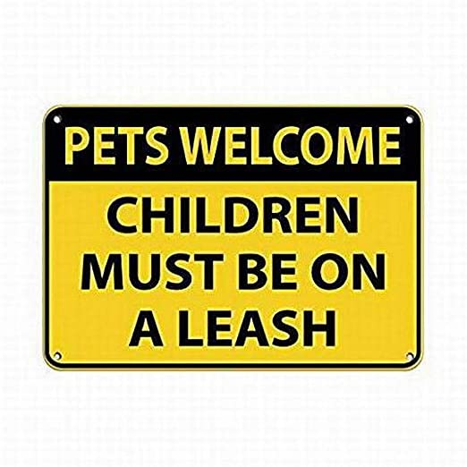 MiMiTee Pets Welcome Children Cartel de Pared de Chapa ...