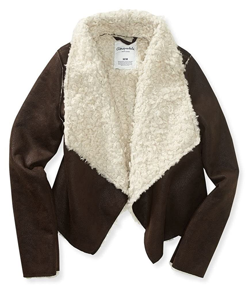 Small Brown Aeropostale Womens Faux Sherpa Cropped Jacket