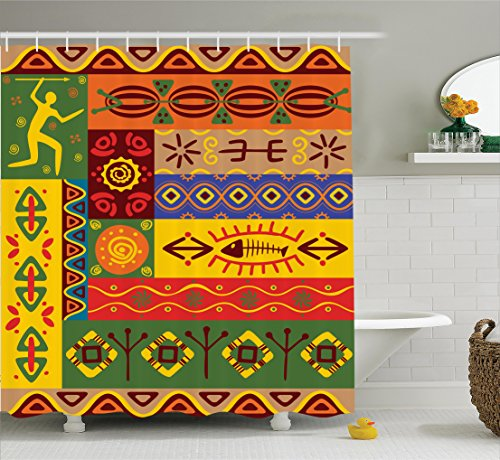 (Ambesonne African Shower Curtain, Abstract Ethnic West African Tribal Folk Art Forms with Unique Artistic Lines Print, Fabric Bathroom Decor Set with Hooks, 75 inches Long, Multi)