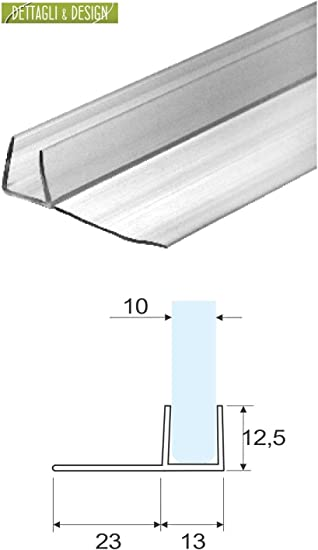 Junta para mampara de ducha flexible con tapa de vidrio 23 mm, 10 ...