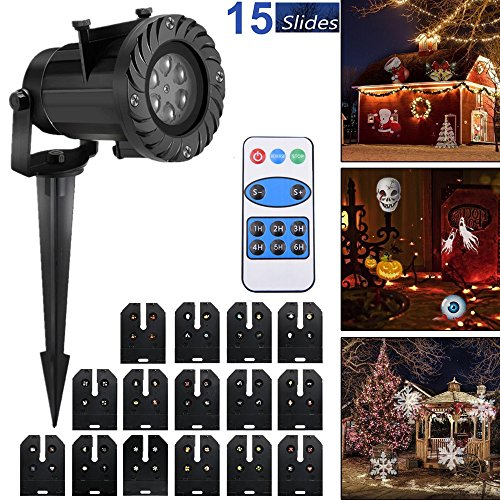 New LED Christmas Projector decoration light 15 slides indoor/outdoor mini spotlight for children and adultsGarden Projector landscape light for holiday birthday Christmas Halloween White