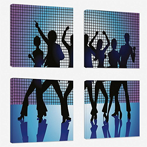 4 Pcs/set Modern Painting Canvas Prints Wall Art For Home Decoration 70s Party Decorations Print On Canvas Giclee Artwork For Wall DecorSilhouettes of Couples Dancing in Night Club Energetic Classic-A