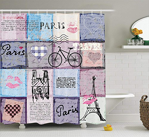 Apartment Decor Shower Curtain Set Grunge Textured Retro Collage of Paris with Famous Object Eiffel Tower European Home Decor Bathroom Accessories Long Lavender Blue 72