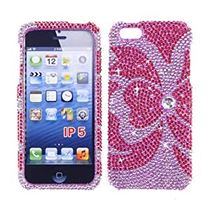 RHINESTONE CELL PHONE COVER PROTECTOR FACEPLATE HARD CASE FOR APPLE IPHONE 5 5S PINK BOW 101