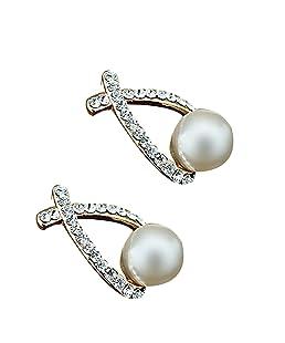 Boucles d'oreilles en cristal doré de mode Brincos Perle Pendientes Boucles d'oreilles en perle simulées pour femme