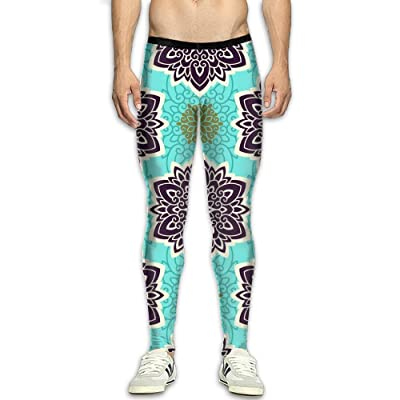 MSYGP Retro Mandala Compression Pants Men Colorful Tights Leggings Tummy Control Gym Tights For Men