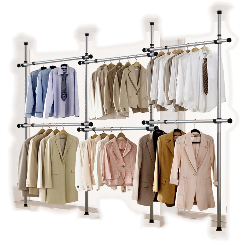 Goldcart 38mm Diameter Pole Long Crossbar Portable Indoor Garment Rack Tools-free DIY Coat Hanger Clothes Wardrobe 4 Poles 6 Bars. 90kg Loading per Bar. Free Reach Hook. Space Fit and Saver.[3806]
