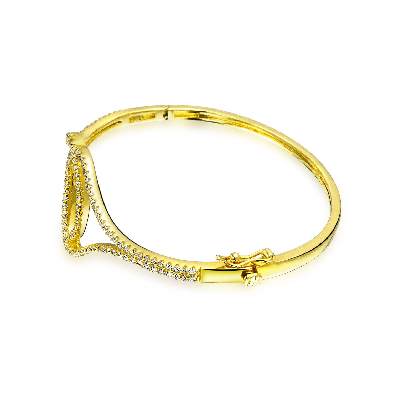 Interlocking Circles Cubic Zirconia CZ Accent Bangle Bracelet for Women 14K Gold Plated 925 Sterling Silver