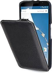 StilGut® UltraSlim Case - Senza Magnete -, Custodia in Vera Pelle per Google Nexus 6 und Motorola Nexus 6, Nero