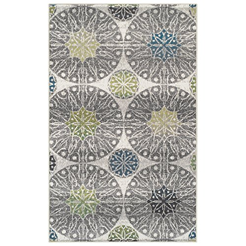 Superior Rosette Collection Area Rug, 6mm Pile Height with Jute Backing, Affordable Contemporary Rugs, Modern Geometric Medallion Rosettes - 4' x 6' Rug, Black, Grey, Blue, and Green