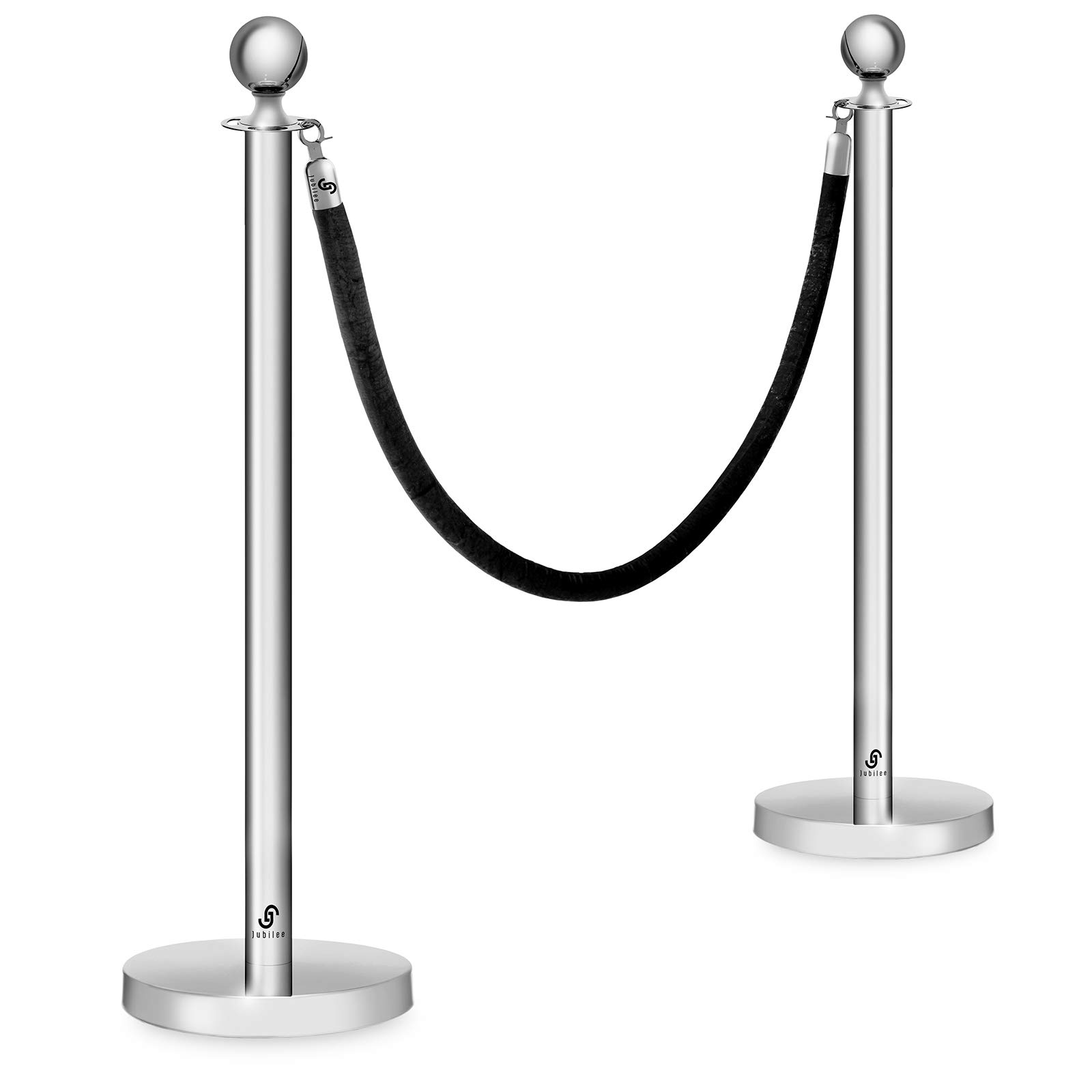 Crowd Control Stanchions by Jubilee - Set of 2 Polished Silver Ball Posts and 6-1/2 Foot Velvet Rope by Jubilee