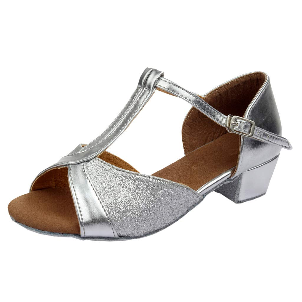★QueenBB★ Kids T-Strap Glitter Synthetic Salsa Tango Ballroom Latin Party Dance Shoes Wedding Shoe for Girls Silver