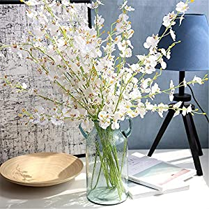 Wootkey 6 Pcs 30″ Long Jasmine Artificial Flowers Faux Berries Fake Flower for Christmas New Year DIY Floral Art Plant Home Office Party Decoration (Dancing Lady Orchid Cream)