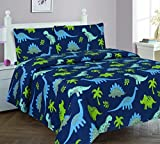Elegant Home Dinosaurs Jurassic Park Design Multicolor Dark Blue Green 4 Piece Printed Full Size Sheet Set with Pillowcase Flat Fitted Sheet for Boys / Kids/ Teens # Dinosaurs Blue 2 (Full)