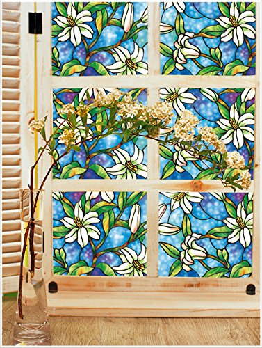 Yanqiao 17.739.4inch Static Clings Orchid Privacy European Art Painting Cellophane Window Film for Home Bedroom Barthroom Kitchen