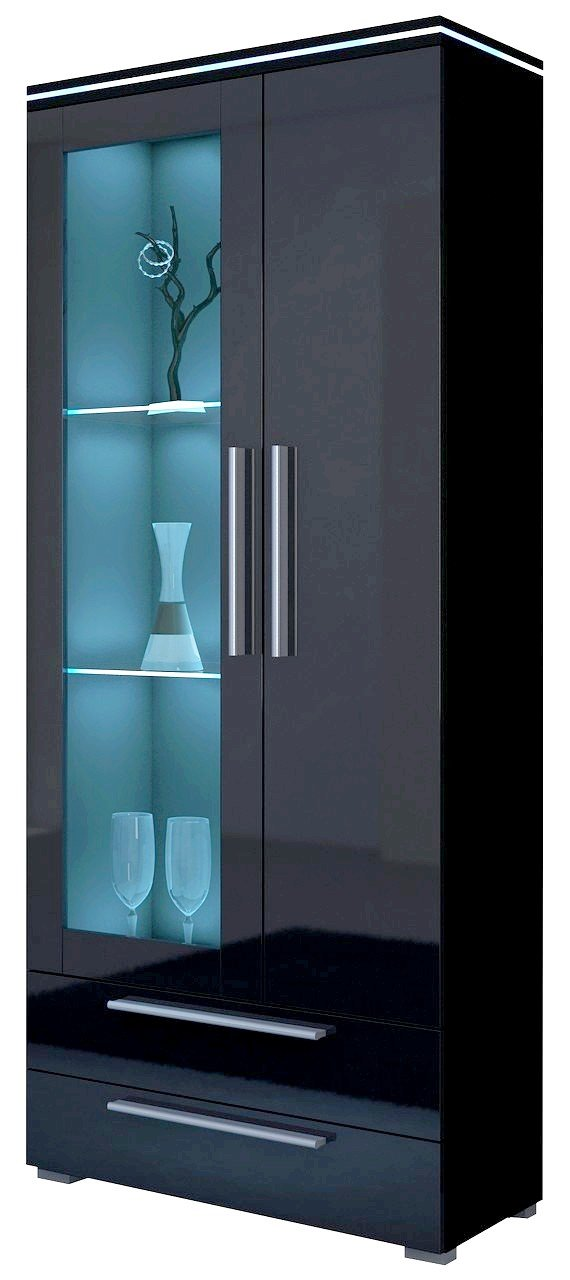 Vitrine LEVERKUSEN mit LED RGB beleuchtung: Amazon.de: Küche & Haushalt