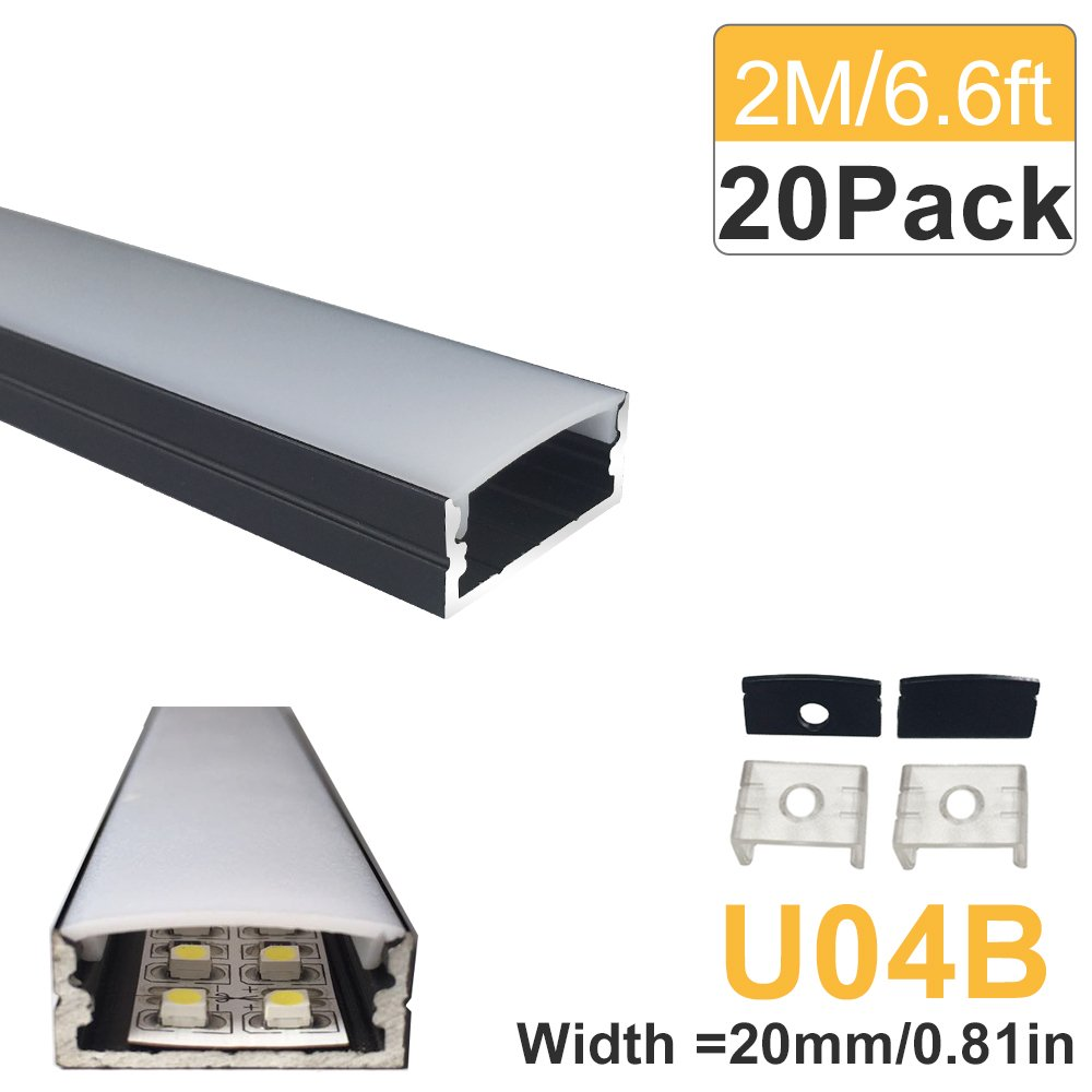 LightingWill 20-Pack U-Shape LED Aluminum Extrusion 6.56ft/2M Anodized Black Track for <20mm width SMD3528 5050 LED Strips Installation with Oyster White Cover, End Caps and Mounting Clips U04B20 by LightingWill