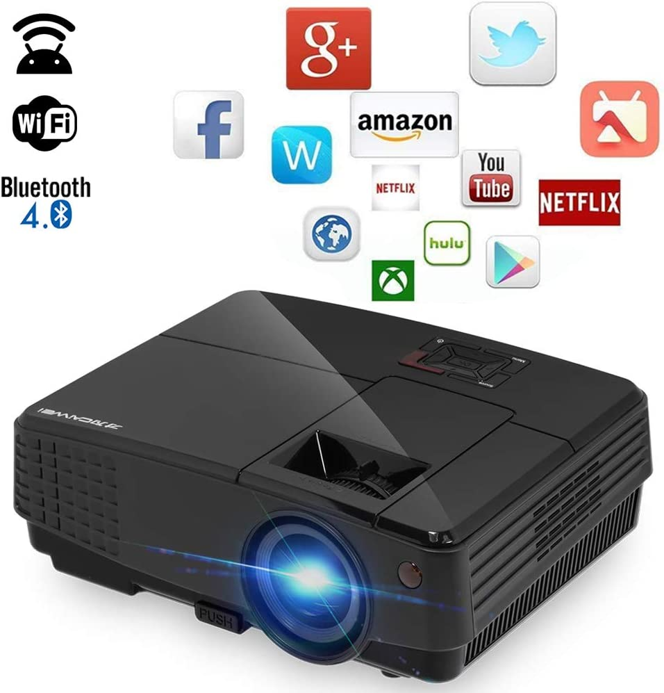 Proyector LCD WiFi Android 4,4 bleut Bluetooth proyector de vídeo ...