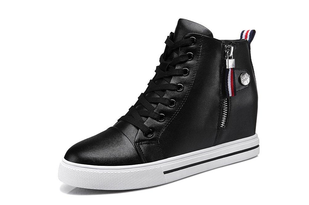 Youxuan Women's Fashion Flat Walking Shoes Zipper Girls Ankle High Casual Elevator Shoes Black 7M US by Youxuan (Image #1)
