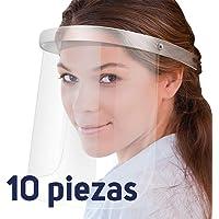 Taurus - Careta Protectora Transparente de Seguridad - Escudo Facial Lavable y Reutilizable - Protector de Cara Completa con Materiales Asépticos - Pack 10 Unidades