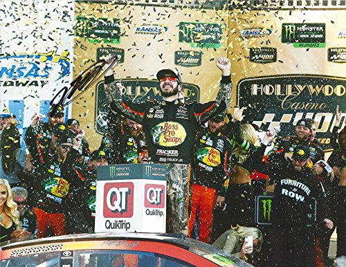 AUTOGRAPHED 2017 Martin Truex Jr. #78 Bass Pro Shops Racing KANSAS SPEEDWAY RACE WIN (Hollywood Casino 400) Victory Lane Celebration Signed Collectible Picture NASCAR 9X11 Inch Glossy Photo with COA from Trackside Autographs