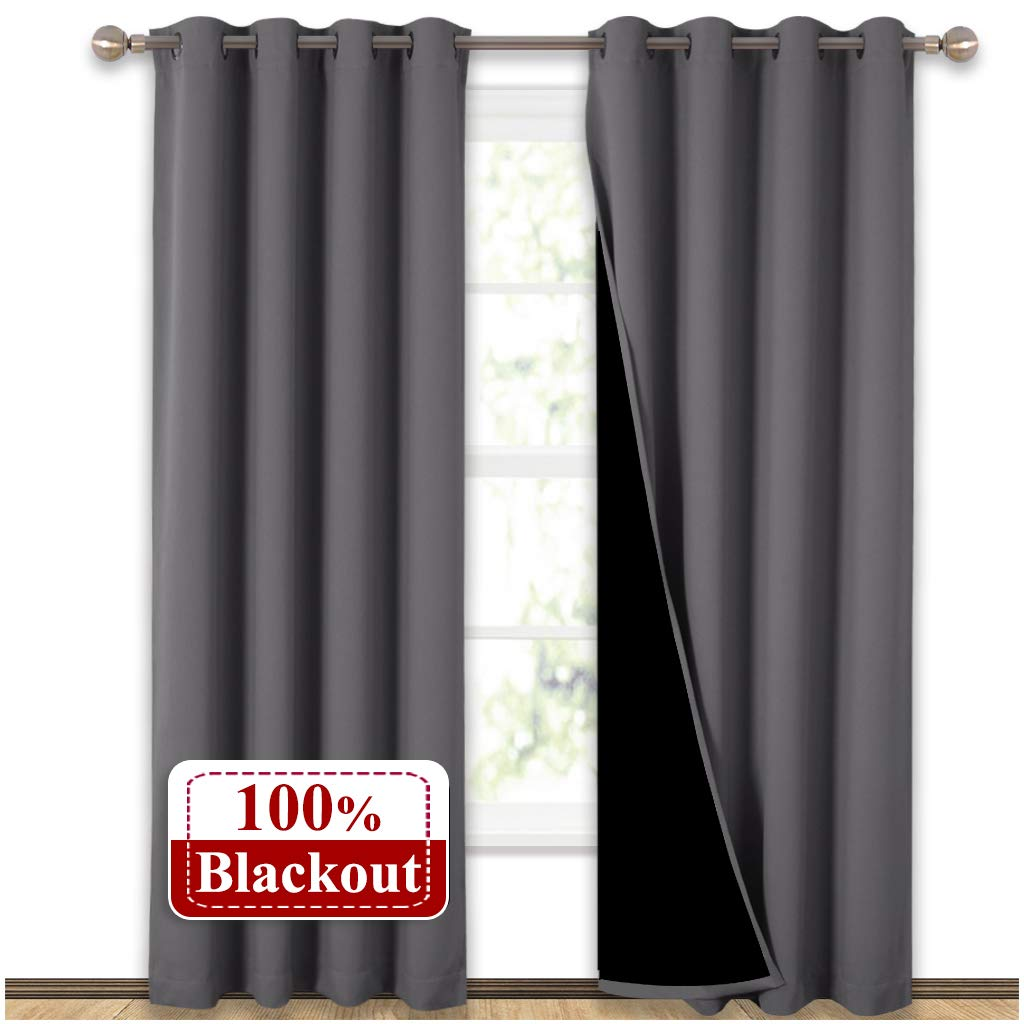 NICETOWN Grey Full Shade Curtain Panels, Pair of Energy Smart & Noise Blocking Out Blackout Drapes for Dining Room Window, Thermal Insulated Guest Room Lined Window Dressing(Gray, 52 x 84 inch) by NICETOWN
