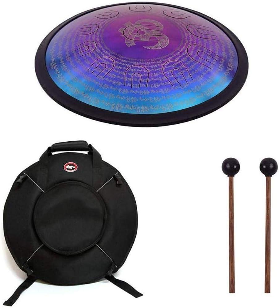 HUYYA 空のドラム 8トーン、スチールドラムタン 18インチ打楽器 Dマイナーでドラムバッグ,Purple