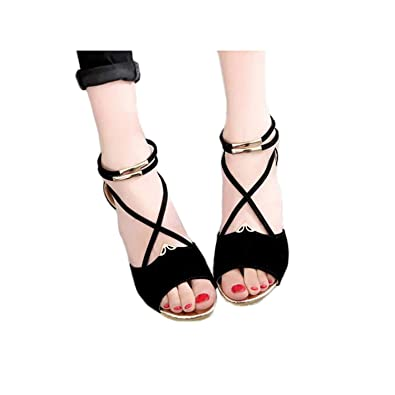 2272484ec1 Amazon.com | Women Shoes Wedge Platform Open Toe Girls Cross T Strap Flat  Sandals | Sandals