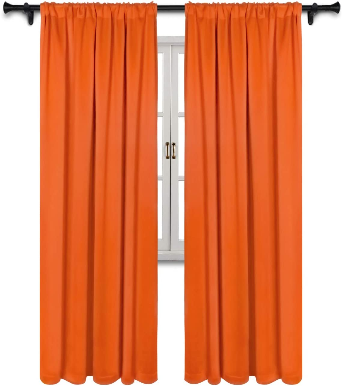 SUO AI TEXTILE Thermal Insulated Drapes Rod Pocket Top Blackout Room Darkening Window Panels Energy Efficient Window Curtains,Orange, 2 Panels, 37 x 95 Inch