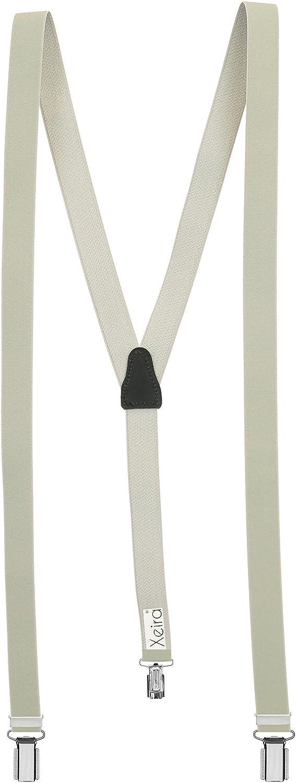 Xeira Tirantes de 25 mm de ancho mujeres con 3 clips y parte posterior de cuero genuino Hecho en Alemania