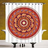 Decorative Shower Curtain 3.0 [Elephants Decor,Round Pattern with Decorated Elephants Meditation Faith India Tribal,] Waterproof and Mildewproof Polyester Fabric Bath Curtain Design