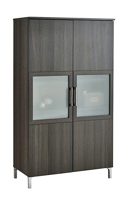 Armario vitrina de 2 puertas con cristal de salón comedor. Roble ...