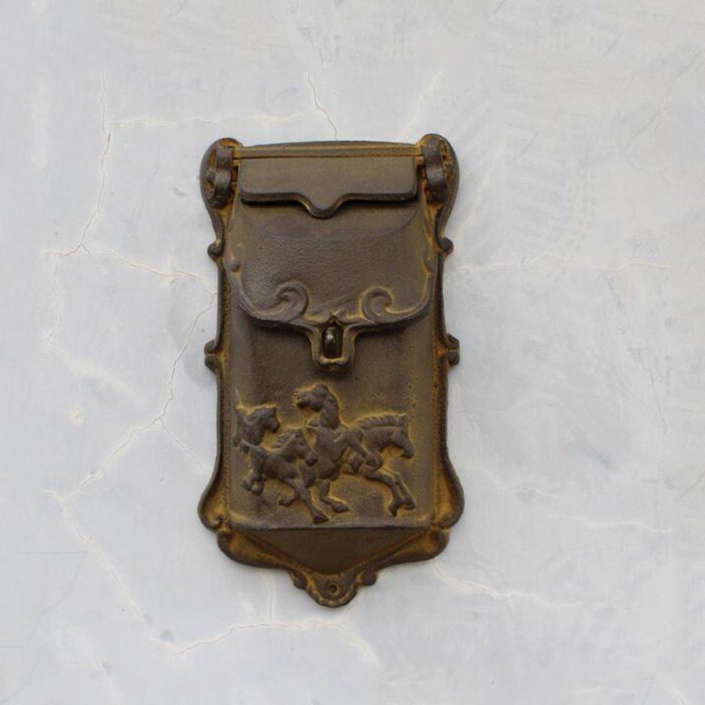 CJH ヴィンテージ古い鋳鉄ヨーロッパの工芸品スモールメールボックスレターボックス壁掛け   B07CVVBGCS