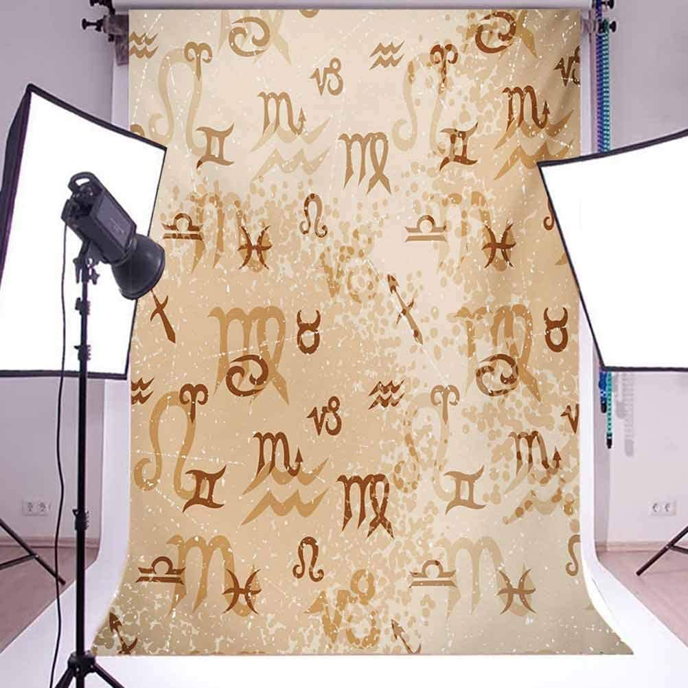 Astrology 10x12 FT Backdrop Photographers,Ancient Abstract Astrological Zodiac Signs Grunge Backdrop Image Background for Baby Shower Bridal Wedding Studio Photography Pictures Pale Brown and Caramel