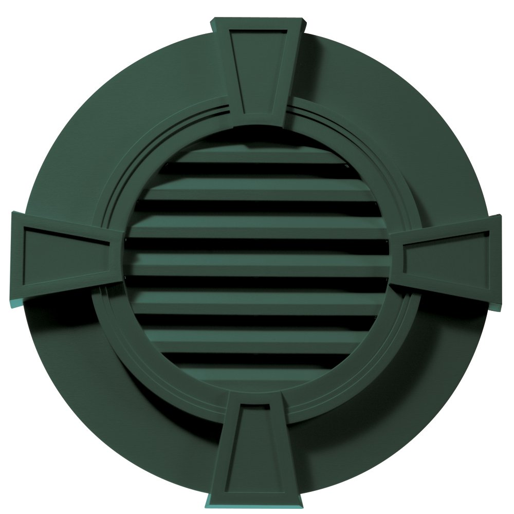 Builders Edge 120033030028 30'' Round Octagon Vent Wide Ring and Keystones 028, Forest Green