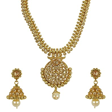 1ad47eb9ce122 Buy MUCHMORE Lct, Golden Pearl Drop Polki Necklace Set For Women ...