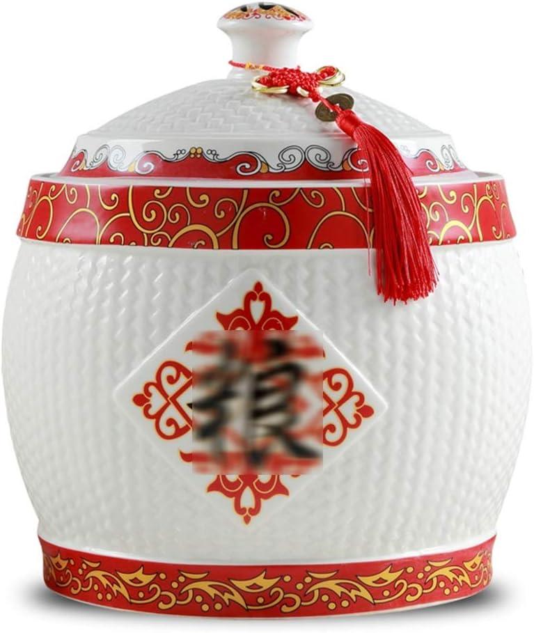 米びつ ライスバケツ カバー 防湿シールと穀物貯蔵容器 セラミックメーターシリンダー (Color : 白, Size : 25*28cm)