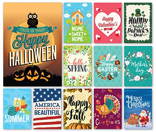 Happy Yard Seasonal Garden Flag Set for Outdoors | Set of 12 Artistically Designed Flags | 12-inch x 18-inch | Holiday Themed, Durable & (Holiday Flags Banners)