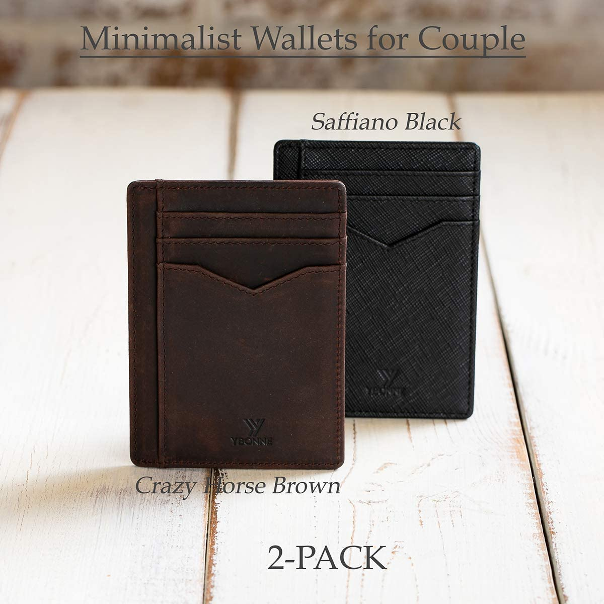 RFID Blocking Thin Card Holder YBONNE Minimalist Front Pocket Wallet for Men and Women Made of Finest Genuine Leather